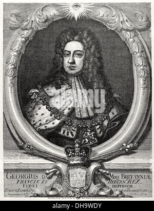 George II (1683-1760). King of Great Britain and Ireland. Elector of the Holy Roman Empire. Engraving at The Universal - Stock Photo