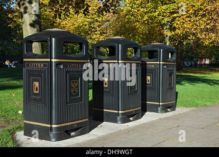 Three litter bins in a park York North Yorkshire England UK United Kingdom GB Great Britain - Stock Photo