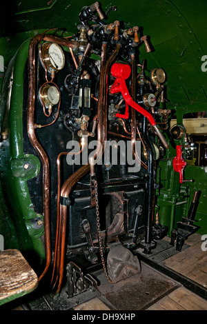 Firebox and controls on King George V Locomotive at the National Railway Museum York North Yorkshire England UK - Stock Photo