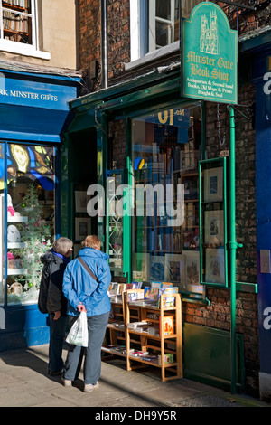 Antiquarian Bookshop Minster Gates York North Yorkshire England UK United Kingdom GB Great Britain - Stock Photo