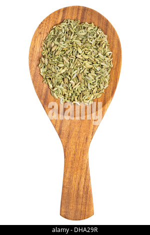 Fennel seeds (Foeniculum vulgare) in the wooden spoon on white background - Stock Photo