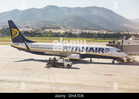 A Ryanair Passenger Plane At Malaga International Airport; Malaga, Malaga Province, Costa Del Sol, Spain - Stock Photo