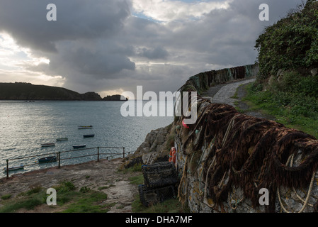 Saints Bay Harbour, Guernsey, Channel Islands. - Stock Photo