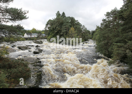 The  Falls of Dochart in the village of Killin, at the end of Loch Tay in Perthshire, Scotland  Located at t - Stock Photo