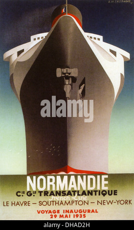 SS NORMANDIE  Poster for maiden voyage of the French ocean liner on 29 May 1935.  In 1942 she caught fire and capsized. - Stock Photo