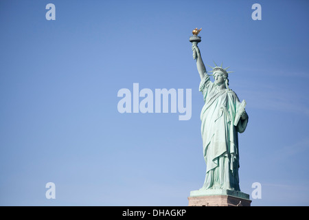 Blue Sky at the Statue of Liberty New York City, New York Blue - Stock Photo
