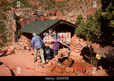 Three Mile Resthouse, Bright Angel Trail, Grand Canyon National Park, Arizona. - Stock Photo