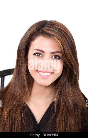 Pretty smiling Latina/ white teen girl - Stock Photo