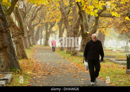 Elderly man and woman walking on path through Ross Bay cemetery in autumn -Victoria, British Columbia, Canada. - Stock Photo
