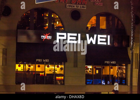 Pei Wei restaurant on Hollywood Blvd in Hollywood California - Stock Photo
