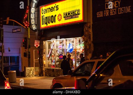 A liquor store on Sunset Blvd in Hollywood California - Stock Photo