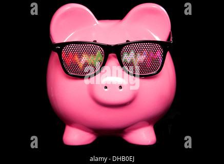 Piggy bank wearing raving glasses studio cutout