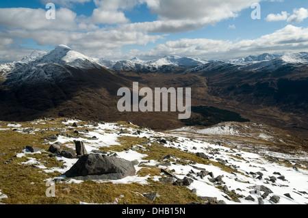 Ladhar Bheinn and Glen Guiserein from Meall Coire an t-Searraich, Beinn na Caillich, Knoydart, Highland region, - Stock Photo