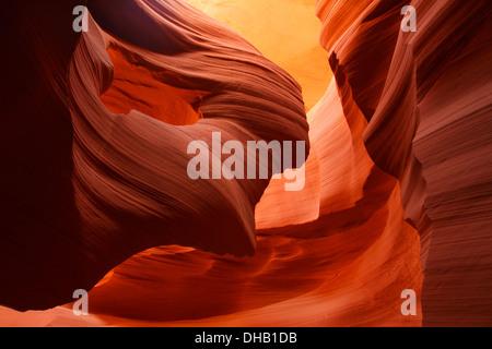 Lower Antelope Slot Canyon on Navajo land, Page, Arizona. - Stock Photo