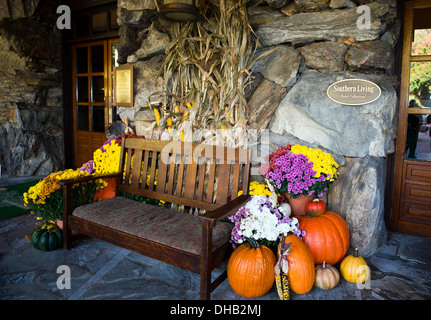 Autumn display in front of the Grove Park Inn,  Asheville North Carolina - Stock Photo