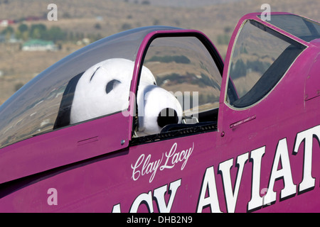 Snoopy sits in the Cockpit of Clay Lacy's P-51 Mustang - Stock Photo