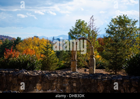 Zen sculpture above the spa building at the Grove Park Inn Asheville North Carolina with Autumn colors - Stock Photo