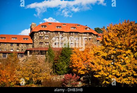 Autumn colors at the Grove Park Inn Asheville North Carolina - Stock Photo