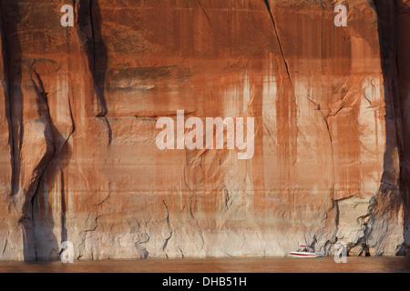 Fishing on Lake Powell, Glen Canyon National Recreation Area, Page, Arizona. - Stock Photo
