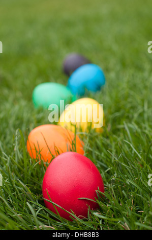 Easter egs in a row on the meadow - Stock Photo