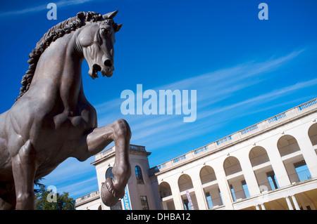 Leonardo's horse at the Hippodrome of San Siro, Milan, Lombardy, Italy - Stock Photo