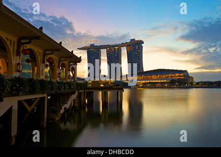 Dawn by The Fullerton Bay Hotel, Singapore. - Stock Photo