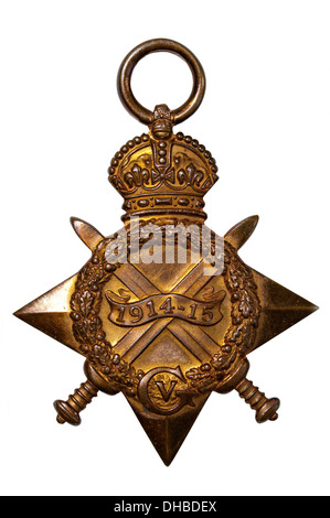 The 1914-15 Star was awarded to anyone who served against Germany between August 1914 and December 1915 - Stock Photo