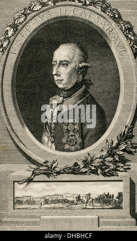 Joseph II (1741-1790). Holy Roman Emperor. Portrait after a copper engraving by J. Adam. The Universal History, - Stock Photo