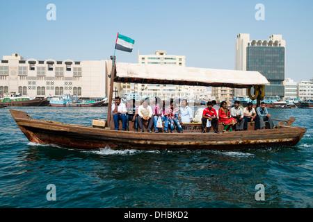 traditional Abra ferry on The Creek river in Dubai United Arab Emirates UAE - Stock Photo