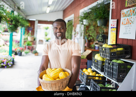 Working on an organic farm. A man carrying a large basket of yellow squash vegetables. Displays of fresh produce - Stock Photo
