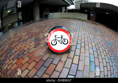 London, England, UK. No Cycling sign in the Barbican complex - Stock Photo