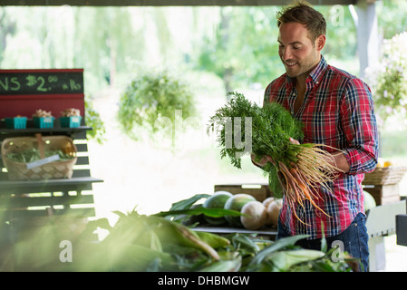 A farm stand with fresh organic vegetables and fruit.  A man holding bunches of carrots. - Stock Photo