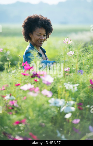 A woman standing among the flowers growing in the fields. - Stock Photo