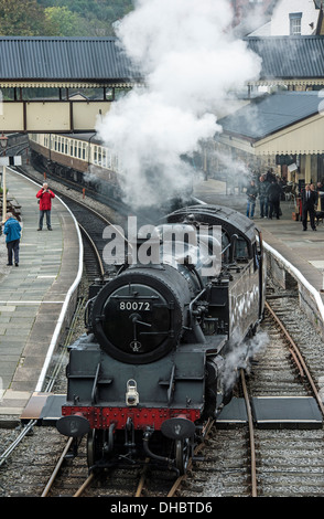 Steam Locomotive at Llangollen Railway Station North Wales UK - Stock Photo