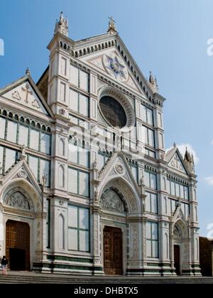 The neo-gothic facade of Basilica di Santa Croce. Florence, Italy - Stock Photo