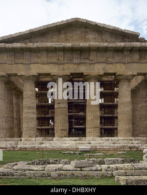 Italy. Paestum. Temple of Neptune, actually dedicated to the goddess Hera. Built around 450-460 BC. Doric style. - Stock Photo