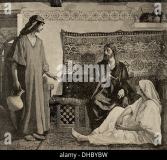 New Testament. Jesus in the House of Martha and Mary. Engraving by Paris. The Iberian Illustration, 1885. - Stock Photo