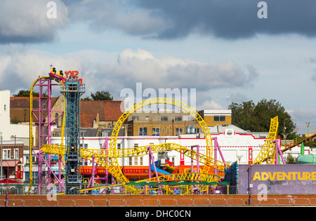 12/10/2013 View from Southend pier of Adventure Island and Southend seafront. - Stock Photo