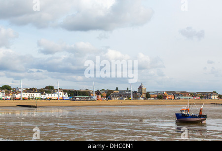 12/10/2013 View from Southend pier of fishing boat, Kursaal and Jubilee beach. - Stock Photo