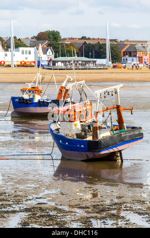 12/10/2013 View from Southend pier of fishing boats, seafront and Jubilee beach. - Stock Photo