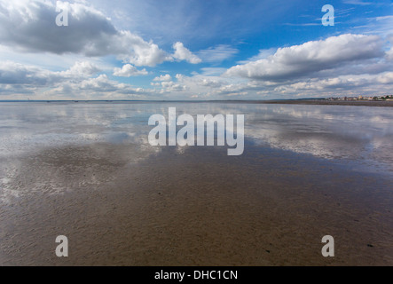 12/10/2013 View from Southend pier at low tide of the Thames river towards London. - Stock Photo