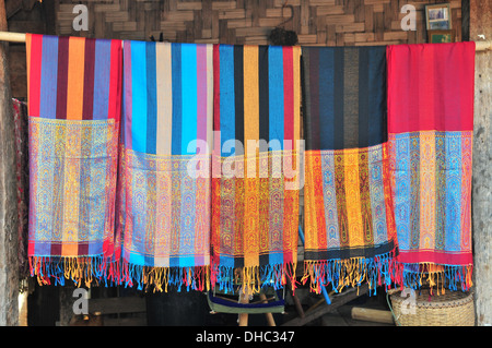 Handwoven scarves from Karen Long Neck hill tribe (Mae Hong Son,Thailand) - Stock Photo