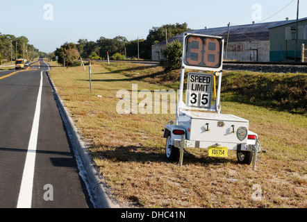 Police speed warning sign on a trailer set up in Davenport, Florida. USA . 6th November 2013 - Stock Photo