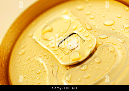 Macro photo of cold beer can - Stock Photo