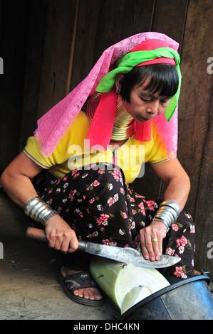 Hill Tribes in Thailand – Long Neck Karen Woman (Mae Hong Son) - Stock Photo