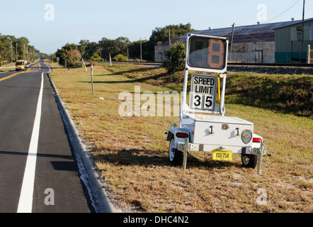 Police speed warning sign on a trailer set up in Davenport, Florida. 6th November 2013 - Stock Photo