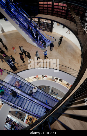 Interior view of the Library of Birmingham, UK recently opened in 2013. - Stock Photo