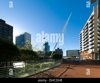 The Civil Justice Centre building from Trinity Bridge, over the river Irwell between Salford and Manchester, England, - Stock Photo