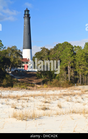 Sand Dunes with Pensacola Lighthouse in the background near Pensacola Naval Air Station in Florida - Stock Photo