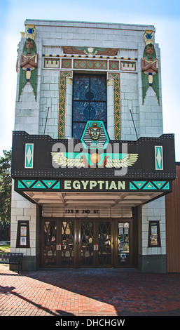Egyptian Theater in DeKalb, Illinois, a town along the Lincoln Highway - Stock Photo